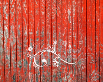 LARGE 5ft x 6ft Red Hot Barn Wood ----- Vinyl Photography Backdrop