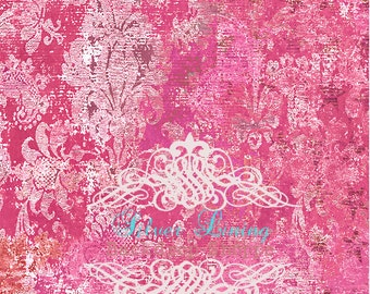 NEW PRICE 4ft x 3ft foot Vinyl Photography Backdrop / Bright Pink Worn Damask
