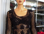 MADE TO ORDER handmade lace crochet top/fishnet sweater/boho sweater/gift for her in black made to order by golden yarn