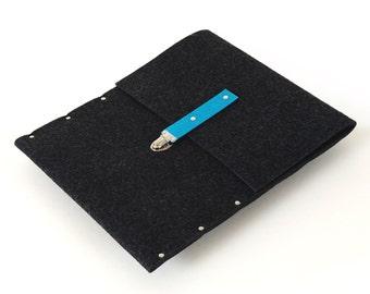 MacBook 13 Air Sleeve, Cover, Case, Briefcase, Bag black industrial felt by SleeWay Studio