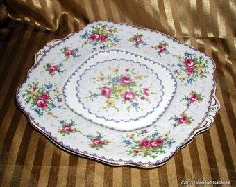 Royal Albert Petit Point Square Cake Plate Serving Platter 1950's Vintage English Bone China