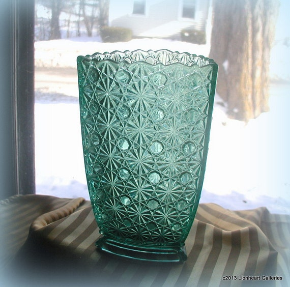 Vintage EAPG Daisy & Button Three Sided Turquoise Vase