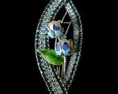 Vintage Enameled Rhinestone Flower Brooch