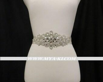 Bridal Rhinestone Crsytal Belt Sash Ivory