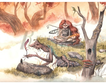 The Writers, Watercolor Print Fairy Fantasy