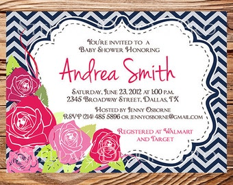 Baby shower invitation, Roses baby shower Invitation, boy, girl, Baby Shower Invite, pink, blue, digital, printable file, 1199