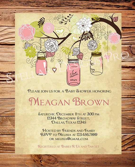 vintage baby shower invitation vintage mason jars baby shower,