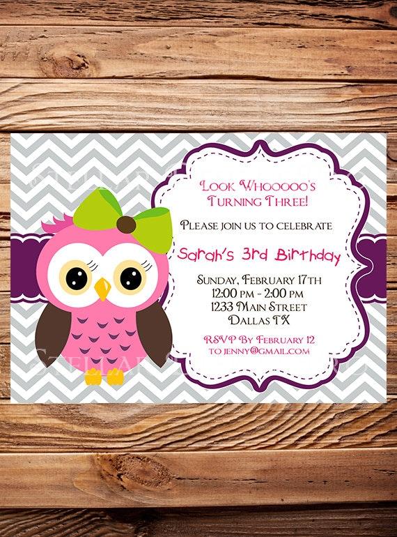 owl birthday invitation girl birthday invite owl boy, Birthday invitations