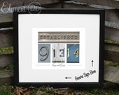 """Unique Wedding Date GUEST BOOK Alternative - Personalized Guest Book Colored Number Photography-Platinum """"Established"""" and Black frame"""