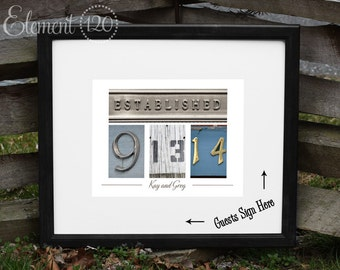 "UNIQUE Wedding Date Guest Book Alternative - Personalized Wedding Guest Book Colored Number Photos - Platinum ""Established"" and Black frame"