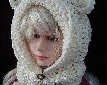 Easy Crochet Hat Pattern - Goldilocks Hood - with ears or without, age 5 to adult, women and girls, crochet for kids & women,  Spp-109
