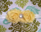 Yellow Shabby Flower Headband. Any Size.