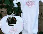 Personalized Newborn Layette Gift Set Monogram Gown and Linen Bib Set for Boys or Girls Great Shower Gift