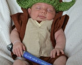 """Chunky Yoda  Hat """"Star Wars Inspired"""" / Beanie - GREAT for Star Wars fans (0-3 / 3-6 / 6-12 month sizes)"""