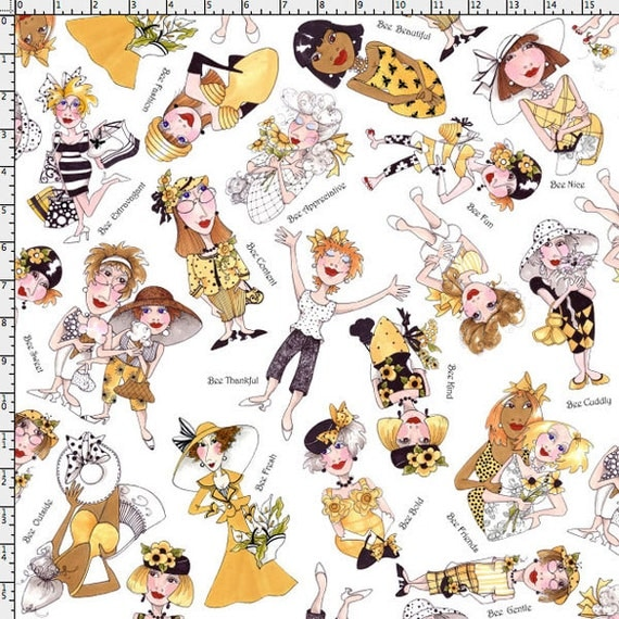Bee Tossed White Fabric Yard by Loralie