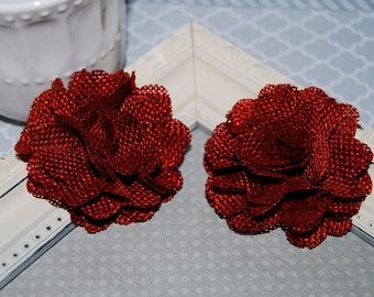 Flax Fabric Flowers - Burgundy Red linen Burlap fabric flowers (2 pcs) - use for headbands - hair hat shoe clips  rustic vintage decorations