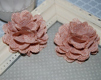 Flax Fabric Flowers - Dusty Rose Mauve linen Burlap fabric flowers (2 pcs) - for headbands  hair hat shoe clips  rustic vintage decorations
