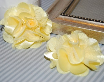 Yellow Flowers - Small 2.5'' Satin mesh silk fabric flowers (2 pcs)  - use for hair flower shoe clip flower headband flowers  bridal wedding