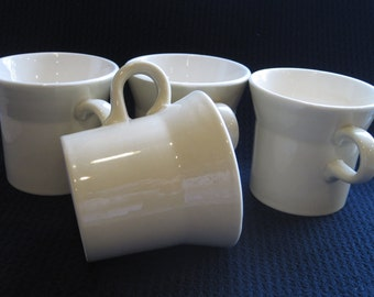 Vintage Creamy Beige and White Mugs