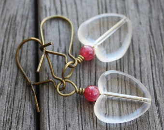 Heart Earrings - Clear Heart and Magenta Candy Jade Earrings - Antiqued Brass Earrings, kidney wire, valentine earrings, jade earrings