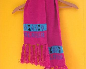 Vintage Scarf/Winter Scarf/Alaska Scarf/80s Accessories/Pink Scarf/Fringe/Tribal Designs/Tourist Scarf/80s Scarf