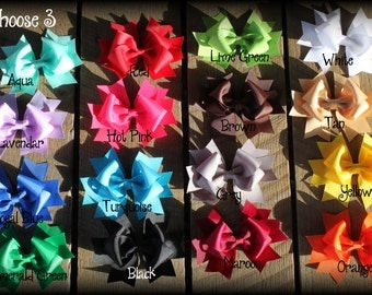 Hair Bow lot, Lot set of 3 basic boutique hair bows bundle and save wholesale