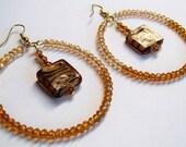 Earrings - Crystal Hoop Earrings with Animal Print Dangle
