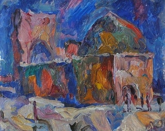 Burial Vault Two Brothers, Middle Asia, 1991, original oil painting by russian artist