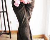 SALE- Vintage Leather Suede Dark Brown Trousers Pants