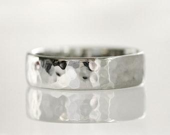 Men's wedding band, hammered wedding ring, 14K white gold - Hammered No.5