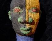 Blue, black and orange Cameroon Tuareg bead ceramic head