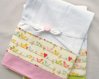 Kitchen towel with love birds pink and green cotton accent - set of two flour sack towels