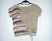 Woven Leather top with fringe