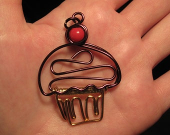 Wire Wrapped CUPCAKE Pendant MADE to ORDER With a Cherry On Top