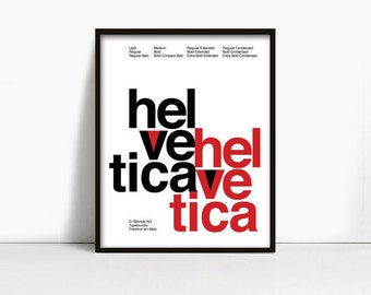 20x30 Inch Gicleè Suisse Swiss Helvetica Type Specimen Poster. Color: White