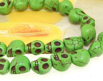 "12mm gemstones Loose Green turquoise skull beads stone FULL STRAND 16"""