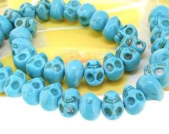 gemstone 10mmx12mm  Skull Head  turquoise beads Stone beads full strand