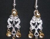 Karita - Lovely Traditional Norwegian Solje Style  Heart Chandelier Earrings with Golden Drops