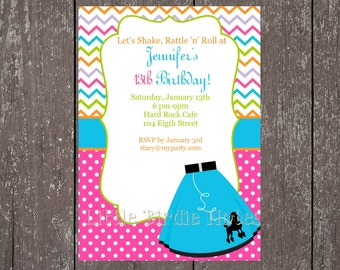 Printable Invitation, Stationary and Party-Tags-50's Party Collection-Little Birdie Notes
