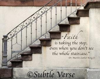Faith Stairway 5x7 Inspirational Plaque - Photography, Architecture, Gift