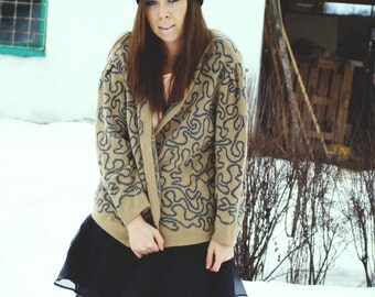 Vintage 80's Khaki Cardigan /abstract Knitted Sweater