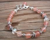 Cherry Quartz Sterling silver Bracelet