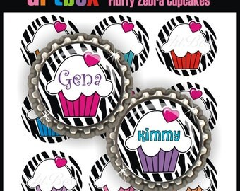 Editable Fluffy Cupcakes Zebra Bottle Cap Images - 4x6 Digital Jpeg File Collage Sheet - BottleCap 1 Inch Circles for Badge Reels, Hair Bows