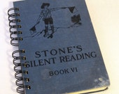1927 STONES SILENT READING Handmade Journal Vintage Upcycled Book Gift for Reading Tutor
