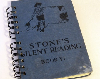 1927 STONES SILENT READING Handmade Journal Vintage Upcycled Book Gift for Reading Tutor