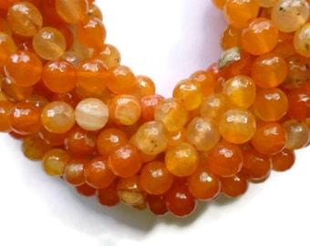 Orange Agate - 8mm Faceted Round Bead - Full Strand - 47 beads - Citrus - Shades of Orange