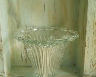 Vintage Thick Glass Trumpet- Shaped Vase/ Dish Espergne Glass Stems Vintage Home Decor Shabby Chic Paris Apt