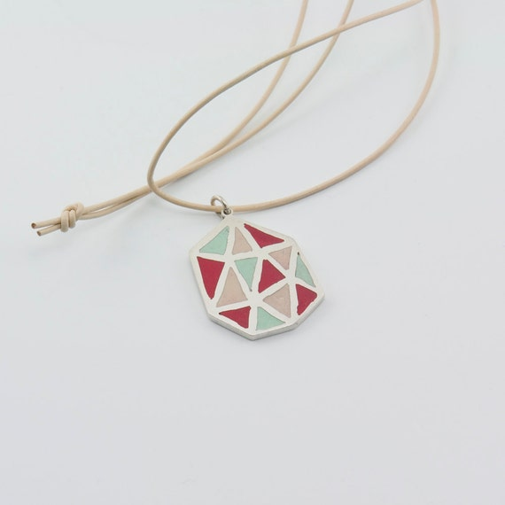 POLIEDRA sterling silver and polymer clay pendant in mint green, beige and magenta