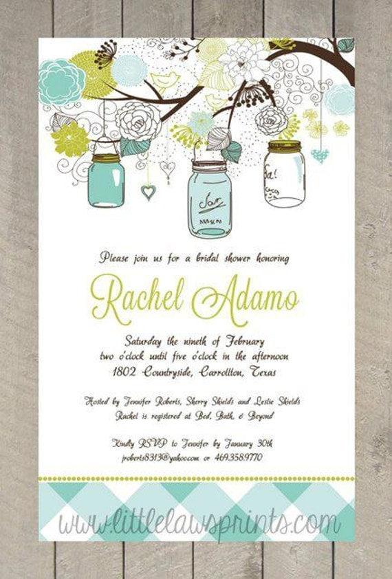 Mason Jar Bridal Shower Invitations