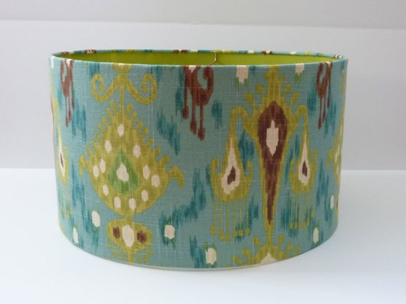 Drum Lamp Shade in Aqua Green and Brown Ikat Linen Fabric with Green Gloss Inside